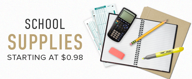 Picture of school supplies. School Supplies: starting at $0.98. Click to shop now.